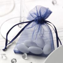 Navy Blue Organza Favour Bags (10)